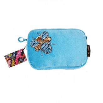 Laines London Turquoise Velvet Bag With Beaded Bug Brooch