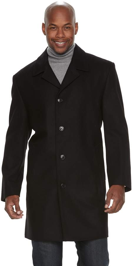 London Fog Tower By Men's Tower by Signature Label Wool-Blend Single-Breasted Top Coat