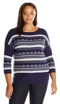 Leo & Nicole Women's Plus Size 3/4 Slv Print Front Pull Over Sweater