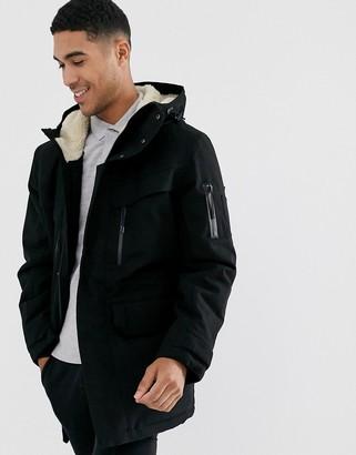 Lacoste hooded coat in black