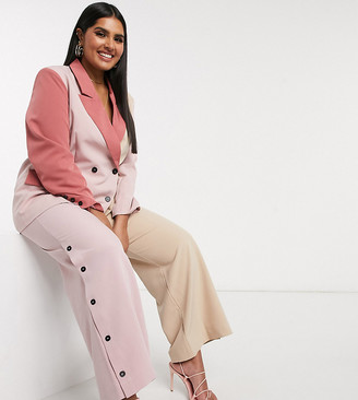 Unique21 Hero contrast panelled pants in cream and pink