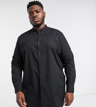 Asos Design DESIGN Plus regular fit super longline shirt in black with grandad collar