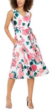 Calvin Klein Petite Floral-Print Fit & Flare Midi Dress