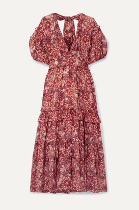 Ulla Johnson Amora Ruffled Floral-print Cotton-blend Voile Midi Dress - Red