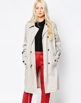 Selected Tie Waist Double Breasted Trench Coat