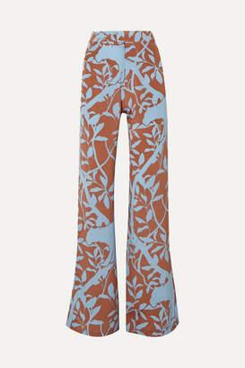 Johanna Ortiz Dominant Paradigm Printed Silk Crepe De Chine Straight-leg Pants - Blue