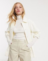 Weekday crinkle overshirt in off-white