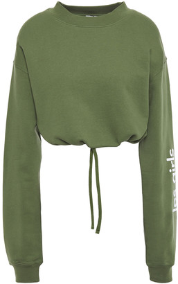 Les Girls Les Boys Cropped Gathered Printed French Cotton-terry Sweatshirt