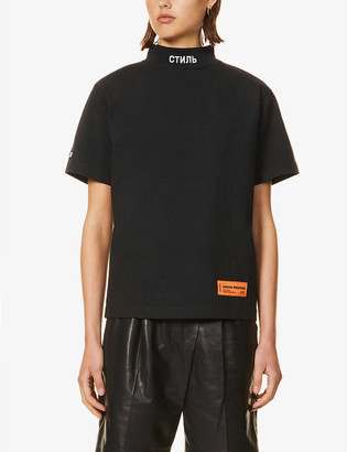Heron Preston Logo-print funnel-neck cotton-knit T-shirt