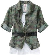 Knitworks camo dog tag mock-layer top - girls 7-16