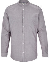 River Island MensGrey Oxford long sleeve grandad shirt
