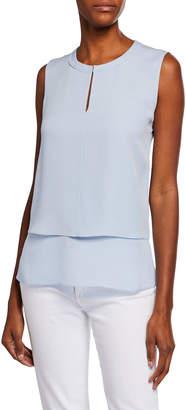 Kobi Halperin Victoria Sleeveless Layered-Front Silk Blouse
