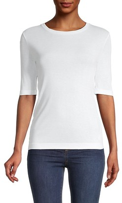 Vince Elbow-Sleeve Pima Cotton Top