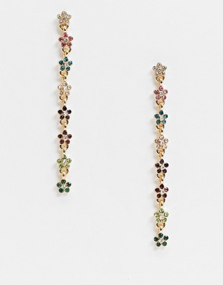 ASOS DESIGN earrings with multicolour ditsy crystal flowers in gold tone