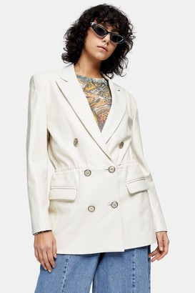 Topshop Womens Idol White Leather Double Breasted Drawstring Waist Blazer - White