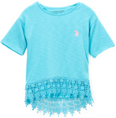 U.S. Polo Assn. Turquoise Lace-Hem Top - Girls