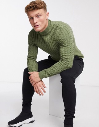 ASOS DESIGN muscle-fit cable turtleneck jumper in olive