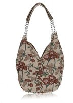 Bohemian Shoulder Bag Womens Printing Handbag Beaded Floral Cotton Evening Bag -Pulama