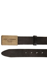 Dolce & Gabbana 30mm Textured Leather Logo Plaque Belt