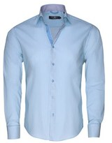 Stone Rose Men's Turquoise Technical Stripe Button Up Shirt.