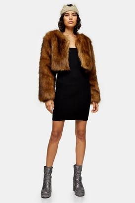 Topshop Brown Cropped Faux Fur Coat