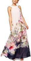 YMING Womens Sleeveless Chiffon Flower Long Maxi Swing Dress White M