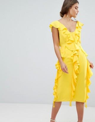 Asos Design DESIGN sleeveless midi dress with soft ruffles-Yellow