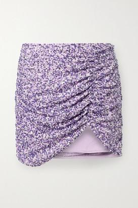 retrofete Celestia Ruched Sequined Crepe De Chine Mini Skirt - Lilac