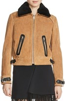 Maje Bakaro Fur-Collar Suede Jacket