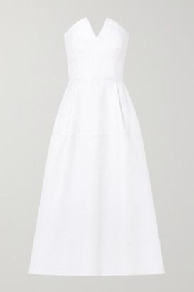Roland Mouret Aldrich Strapless Frayed Cloque Midi Dress - White