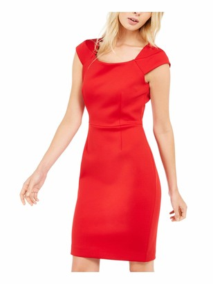 Calvin Klein Womens Red Zippered Cap Sleeve Square Neck Above The Knee Sheath Cocktail Dress Size: 12