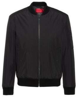 HUGO Slim-fit water-repellent bomber jacket with logo print