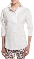 Armani Collezioni 3/4-Sleeve Poplin Tunic, White