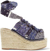 Chloé Printed Canvas Espadrille Wedge Sandals - Blue
