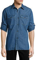 Tom Ford Denim Military Shirt, Medium Blue