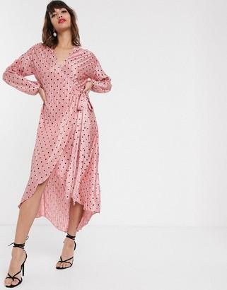 Pretty Lavish wrap midi dress in spot print