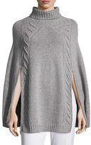 Agnona Double-Zip Knit Poncho, Gray