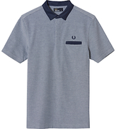 Fred Perry Oxford Trim Collar Pique Polo Shirt, Dark Carbon Oxford