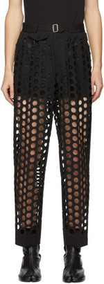 Maison Margiela Black Double-Cloth Perforated Trousers