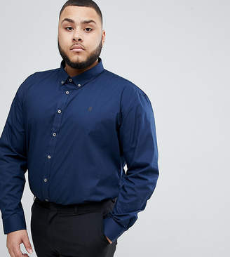 French Connection PLUS Poplin Long Sleeve Shirt-Navy