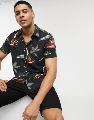New Look short sleeve tropical leaf print shirt in black