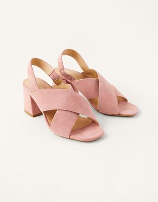 Monsoon Suede Cross-Over Block Heel Sandals Pink