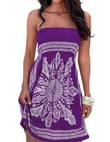 IMAGINE Women's Strapless Floral Print Bohemian Casual Mini Beach Dress(PE,S)