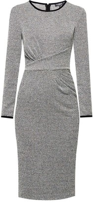 Rumour London Grey Rebecca Check Jacquard Jersey Dress with Waistline Drapes