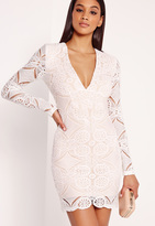 Missguided Lace Long Sleeve Bodycon Dress White
