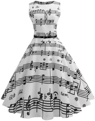Clemunn Women Dress Womens Vintage Musical Note Printed Picnic Party Cocktail Dress Sleeveless Casual Wedding Evening Party Prom Swing Dress (White XXL)