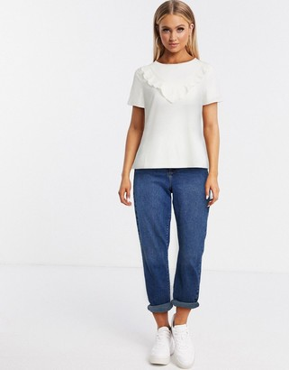Pimkie frill detail t-shirt in white