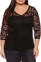 Boutique + Boutique+ 3/4-Sleeve V-Neck Nylon Blouse - Plus