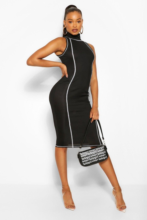 boohoo Contrast Stitch Rib High Neck Midi Dress