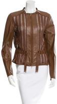 Escada Leather Open Knit Jacket